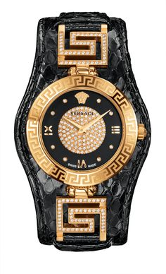 The new alluring black version of the #Versace V-Signature, enhanced by diamonds, expresses all the iconic style and glamorous aesthetics of the Maison. #VersaceWatches