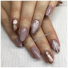 Stunning rose gold and nude nails for Elizabeth. Always a perfect colour combo! Chelsea xx #leahlightnailsandbeauty #love #freehand #nailart #glitter #parnellnails #linework #detailedfeaturenails #almondnails #naturalnails #hotnails #nailedit