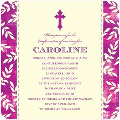 Batik Borders - #Confirmation Invitations - Hello Little One - Berry - Purple | TinyPrints.com