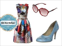 Love the coloured accessories with this vibrant printed day dress @soleshoeboutique