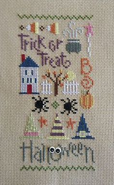 completed cross stitch Lizzie Kate halloween Trick or Treat Boo Fall Cross Stitch, Cross Stitch Pillow, Cross Stitch Baby, Modern Cross Stitch, Counted Cross Stitch Patterns, Cross Stitch Designs, Cross Stitch Embroidery, Lizzie Kate, Halloween Embroidery