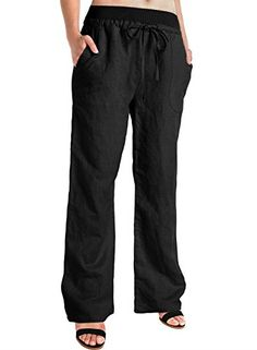 BAISHENGGT Womens Linen Casual Straight Trousers Pants Medium Black -- Read more reviews of the product by visiting the link on the image.