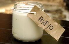 Homemade Paleo Olive Oil Mayo Recipe with eggs, lemon juice, dry mustard, salt, olive oil