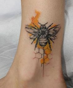 Awesome Honey Bee Tattoo Designs on Ankle