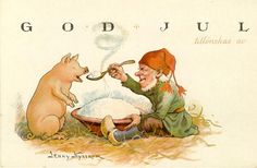 "Vintage Jenny Nyström christmas artwork, Sweden, this time Tomte and his friend 'pig', Tomte is sharing his christmas ""Gröt"" with pig.  That's oatmeal with butter you are supposed to leave out Christmas eve for Tomte - if you don't leave him some gröt he will prank you good, if you forget the butter he will get just as angry."