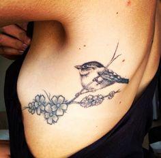 Sakura flower and Bird tattoo