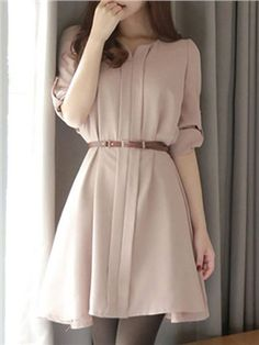 Casual Solid Color Half Sleeve Short Day Dress