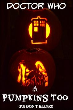 Doctor who and pumpkins too! Weeping angel pumpkin and tardis pumpkin. P.S. DON'T BLINK (links to free pumpkin carving patterns in post.)