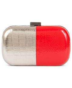 BCBGeneration Handbag, Two Tone Croco-Patent Minaudier Clutch - Clutches & Evening Bags - Handbags & Accessories - Macy's