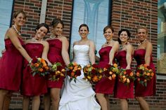 Fall Burgundy Green Orange Red Bouquet Wedding Flowers Photos & Pictures - WeddingWire.com