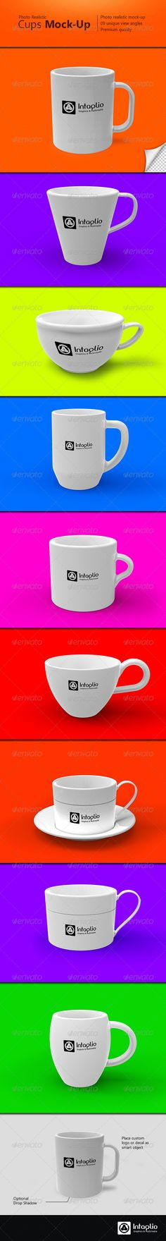 Photorealistic Cups MockUp — Photoshop PSD #coffee #simple • Available here → https://graphicriver.net/item/photorealistic-cups-mockup/2734116?ref=pxcr