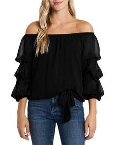 Chiffon Shirt, Chiffon Tops, Ruffle Blouse, Stylish Tops For Women, Dressy Pants, Denim Top, Types Of Sleeves, Sleeve Types, Blouse Styles