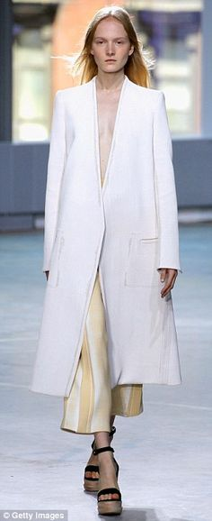 xA softness of color in terracotta and white were delivered in crepe dresses and coats