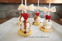 Whimsical mini ice cream sundeas. Super easy, just assemble ingredients and serve.