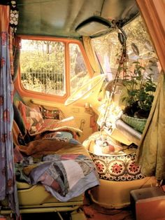 to have a rv like this and travel the states! hippie car decor