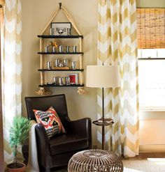 Love the yellow chevron curtains and rope shelves Hanging Rope Shelves, Diy Hanging, Wall Shelves, Diy Shelving, Bedroom Shelves, Wood Shelf, Storage Shelves, Floating Shelves, Chevron Curtains