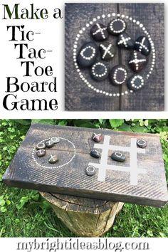 Make a tic-tac-toe board game. Craft Tutorials, Craft Projects, Project Ideas, Craft Ideas, Diy And Crafts, Crafts For Kids, Paper Crafts, Tic Tac Toe Board, Diy Party