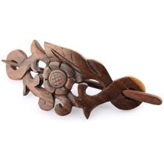 Evolatree - Hand Carved Sono Wood Natures Heart Floral Leaf Crest Hair Pin Barrette - 4' *** Learn more by visiting the image link.