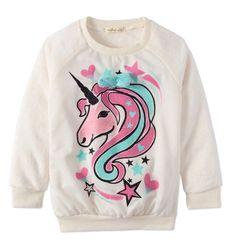 Toddler Girls Long Sleeve Unicorn Sweatshirt with Bow Size 4T Comfy Kids BNWT #OneStepUp #EverydaySchool