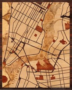 16x20 Woodcut Map of New York, NY -- our very first design!