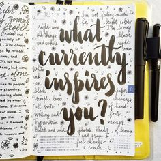 pepperandtwine: found on Hobonichi Love~ What currently inspires you?handlettering ~calligraphy modern calligraphy...