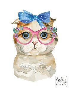 Cat Watercolor Print - Scottish Fold Cat - Retro Cat - Vintage Cat - Cat Art - Animal Art - Cat Painting