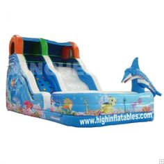 Inflatable undersea world high slide, XS18, size:10.6x5.5x5.5m