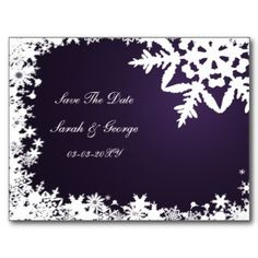 purple snowflakes save the date post card at www.mgdezigns.com