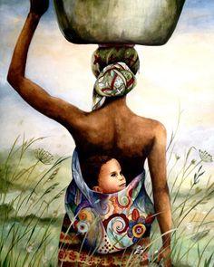 mère avec son bébé dans son dos dans un domaine art print