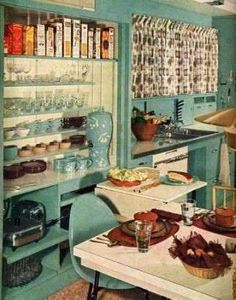 What The American Kitchen >=<  Looked Like >=<  The Year You Were Born >=<  1950s: The Kitchen as Status Symbol  New advances in food tech and labor-saving devices theoretically saved time in meal prep, making it possible to devote more space in your kitchen to decor (rather than to a pantry). © William Howland
