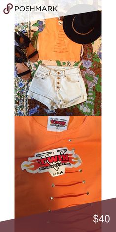 Orange Vintage Motorcycle Crop Top Perfect for your next festival! New with tags  cut down middle to show off your best assets  great condition size small!! 90s Vintage Vintage Tops Crop Tops