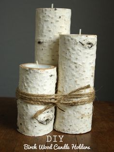 Oleander and Palm: Birch Wood Candle Holders Love this for re-purposeing :)