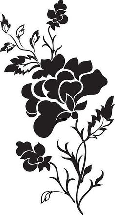 Vertical flower pattern rose tattoo vector image on VectorStock Stencils, Leaf Stencil, Stencil Templates, Stencil Patterns, Stencil Designs, Stencil Stickers, Silhouette Portrait, Silhouette Art, Vertical Back Tattoo