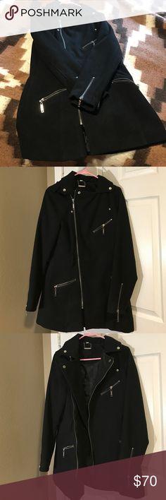 Long black pea coat Never worn black pea coat with lots of zippers Jou Jou Jackets & Coats Pea Coats