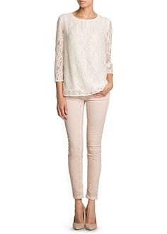 MANGO - CLOTHING - Tops - Blouses - Loose-fit lace blouse