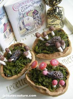 Walnut halves create beautiful micro gardens with tiny mushrooms and little hedgehogs.
