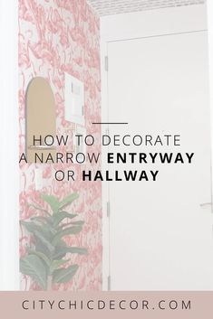 how to decorate or DIY a narrow entryway or hallway Studio Apartment Decorating, Apartment Ideas, Apartment Goals, Hallway Wallpaper, Narrow Entryway, Narrow Shelves, Studio Living, Living Room, Flamingo Pattern