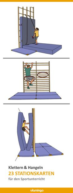 """23 station cards for """"climbing & hanging"""" in physical education - 23 stations on the subject of """"Climbing & Hangling"""" for sports teachers. The device structure is sh - Indoor Play Areas, Educational Crafts, Baby Gym, Social Trends, Winter Sports, Physical Education, Climbing, Physics, Kindergarten"""