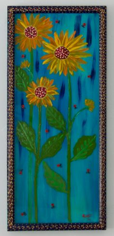 New to SissysFolkArt on Etsy: Tall Flowers and Ladybirds (395.00 USD)