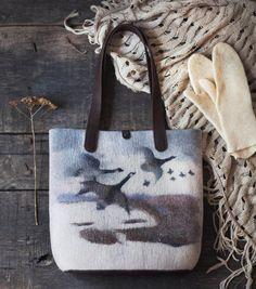 Felted Tote Bag Birds flying от mariasoloveyfelt на Etsy