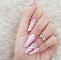 Ways to create beautiful acrylic nails with 60 Nails Arts - Ankara Lovers Cute Acrylic Nail Designs, Pink Nail Designs, Best Acrylic Nails, Baby Pink Nails Acrylic, Acrylic Gel, Nails Design, Cute Pink Nails, Pretty Nails, Prom Nails