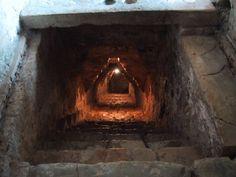 Palenque mayan ruins Chiapas area  Mexico   escaleras que descienden al interior del edificio donde se encontro la tumba de Pakal