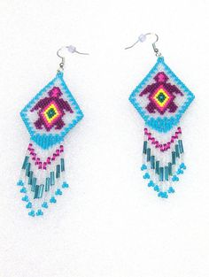 Native American Inspired Purple Turtle Hand Beaded Dangle Earrings by TheBeadedDiamond on Etsy