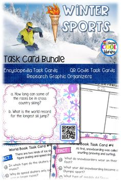 Winter Sports Task Cards - Learn about winter sports with these fun encyclopedia research and QR code task cards. Includes 2 research graphic organizers.
