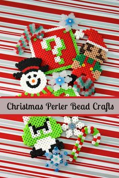 Looking for a fun way to spend a snowy afternoon inside? How about some Christmas Perler Bead crafts to occupy both you and the kids? Hama Beads, Perler Bead Art, Fuse Beads, Melty Bead Patterns, Perler Patterns, Beading Patterns, Christmas Perler Beads, Christmas Ornaments, Christmas Ideas