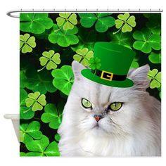 Cat And Leprechaun Hat Shower Curtain On CafePress
