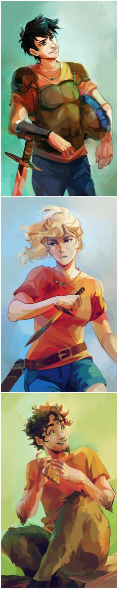 Percy Jackson, Annabeth Chase, and Grover Underwood. I love this fan art!