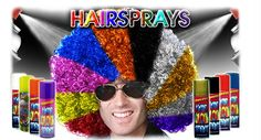 hair colour spray cans. crazy green, reds, yellow, orange and purple smiffys fx £1.99 offer Halloween deals