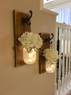 This is a set of 1, 2 or 3 gorgeous and perfectly rustic chic mason jar wall sconces! Scroll through the listing to see your customization options! FLOWERS ARE OPTIONAL AND LIGHTS ARE INCLUDED! Please leave me a note in the notes to seller box with your wood finish choice if it