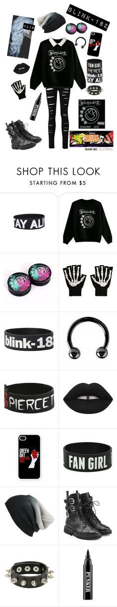 """Blink-182 Set 2"" by chemicalfallout249 ❤ liked on Polyvore featuring Urbiana, Lime Crime, BP., Giuseppe Zanotti and Ardency Inn"